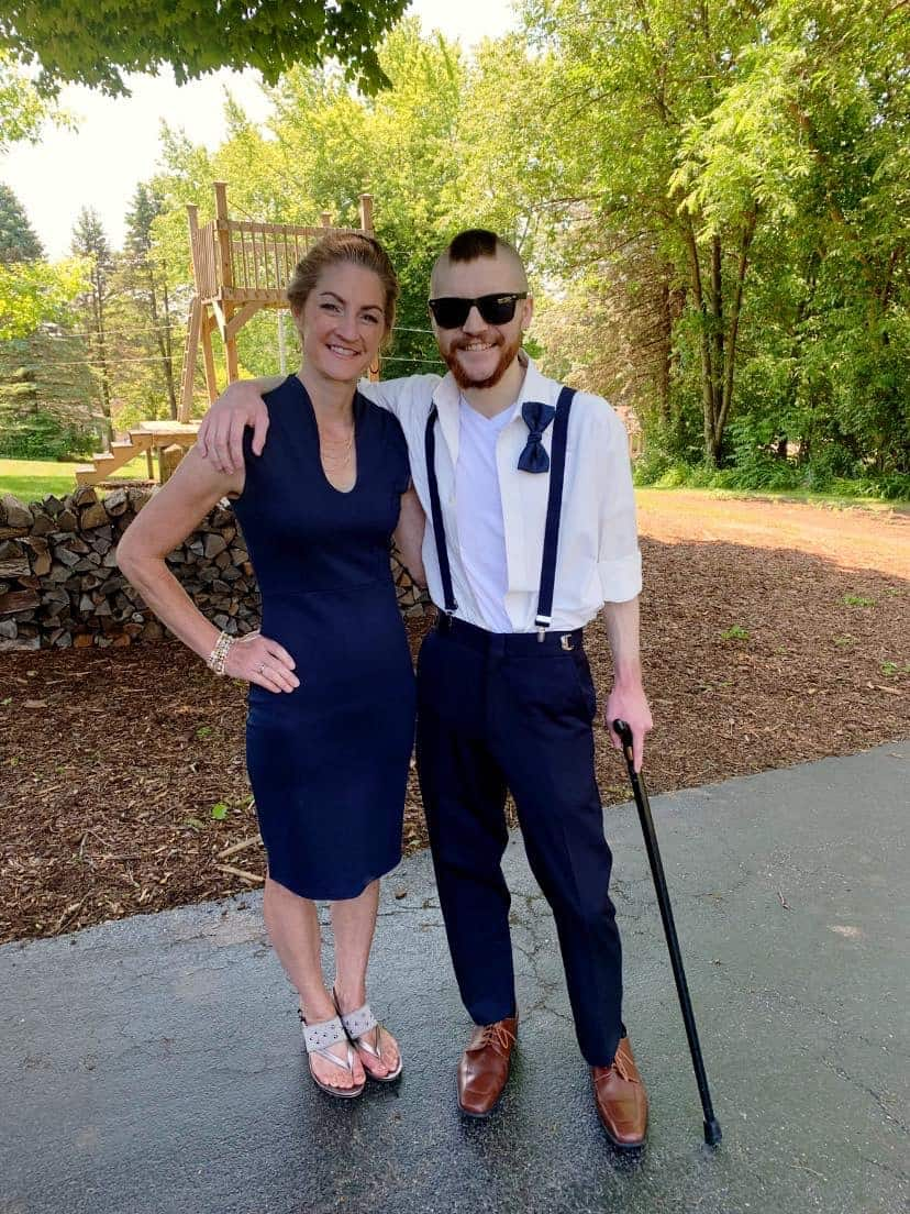 Cindee and Sam all dressed up