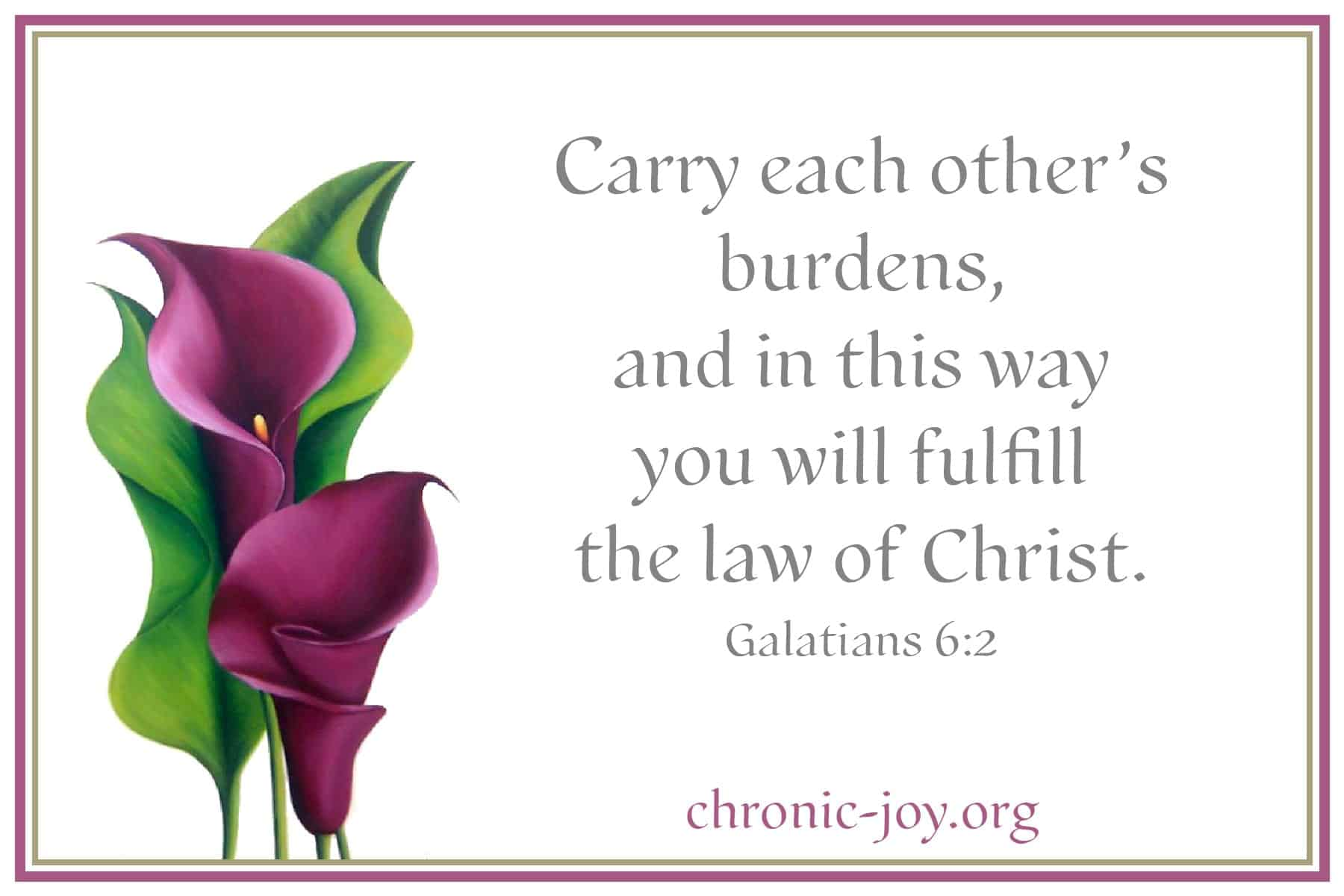 Carry each other's burdens - Galatians 6:2
