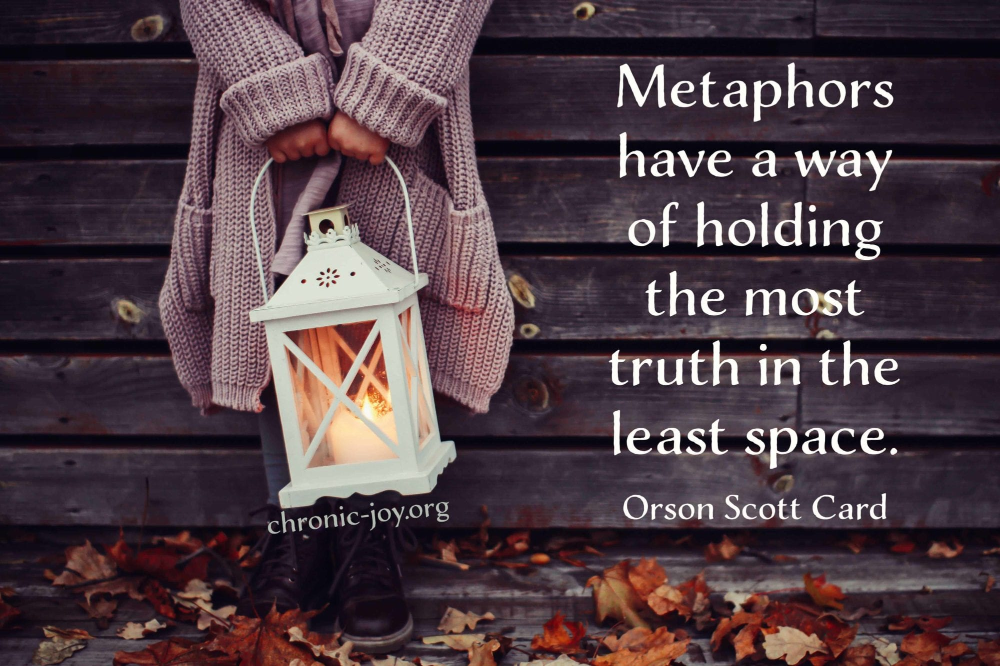 Metaphors have a way of holding the most truth in the least space.