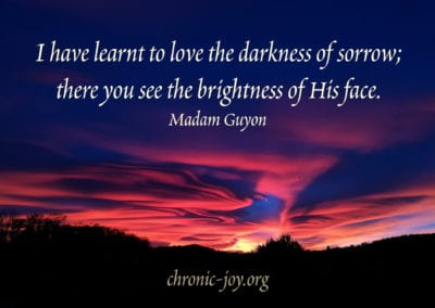 """""""I have learnt to love the darkness of sorrow; there you see the brightness of His face."""" Madam Guyon"""