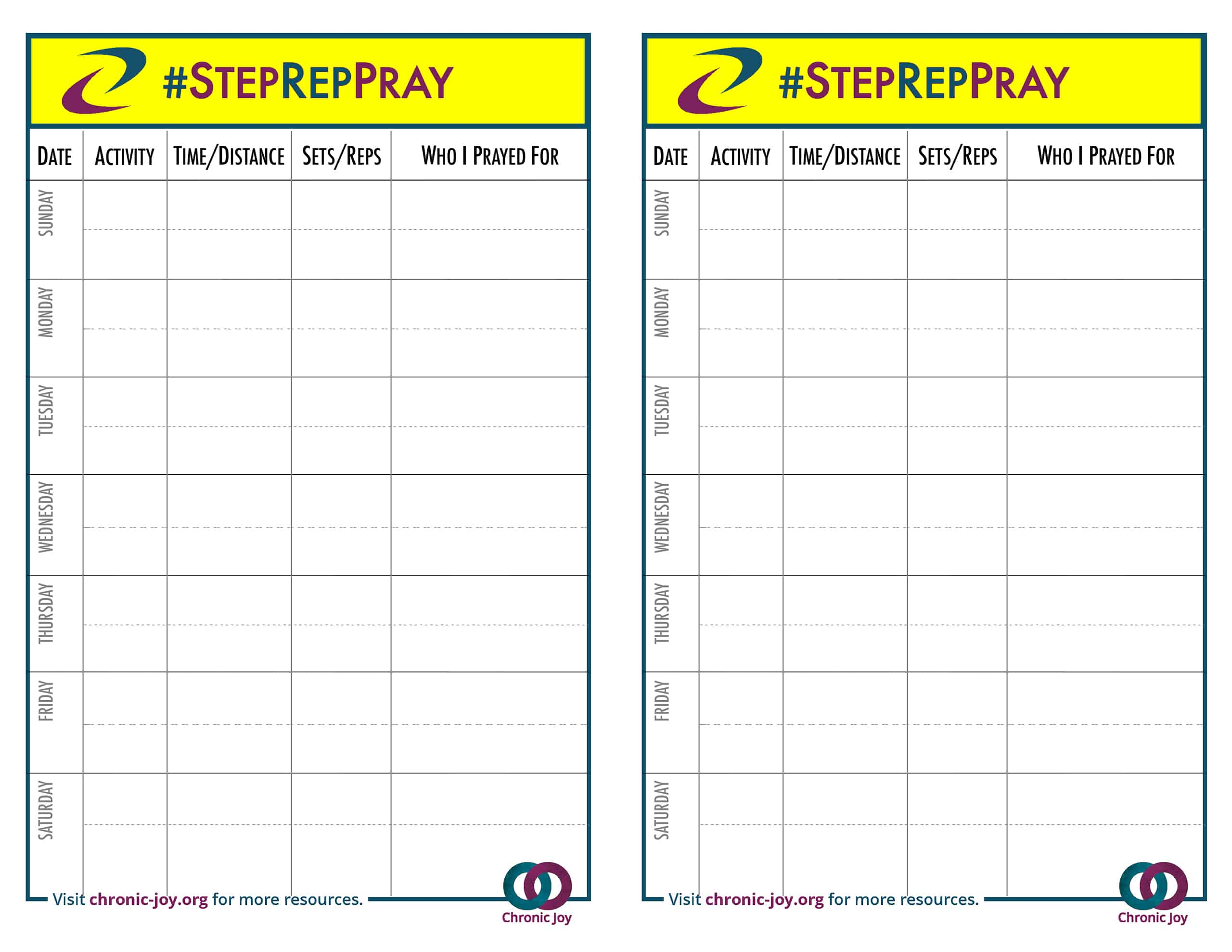#StepRepPray Log Sheet