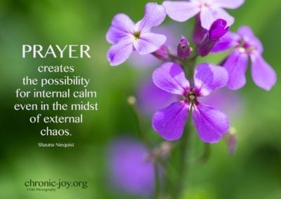 Prayer creates the possibility for internal calm...