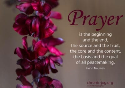 """""""Prayer is the beginning and end, the source and the fruit, the core and the content, the basis and the goal of all peacemaking."""" Henri Nouwen"""