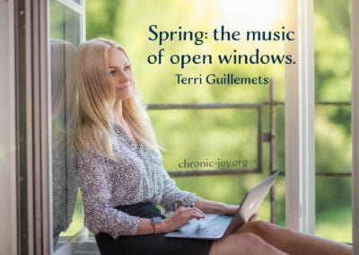 """Spring: the music of open windows."" Terri Guillmets"