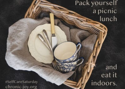 Pack a picnic lunch and eat it indoors.