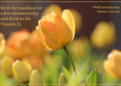 Sit in the sunshine for a few minutes today and drink in the Vitamin D.