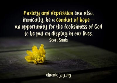 """""""Anxiety and depression can also, ironically, be a conduit of hope—an opportunity for the foolishness of God to be put on display in our lives."""" Scott Sauls"""
