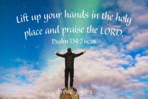 Lift up your hands in the holy place and praise the LORD. Psalm 134:2 HCSB