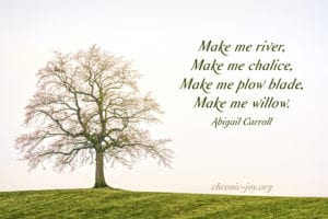 """Make me river, Make me chalice, Make me plow blade, Make me willow."" Abigail Carroll"