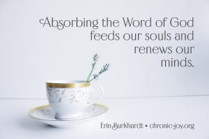 """Absorbing the Word of God feeds our souls and renews our minds."" Erin Burkhardt"