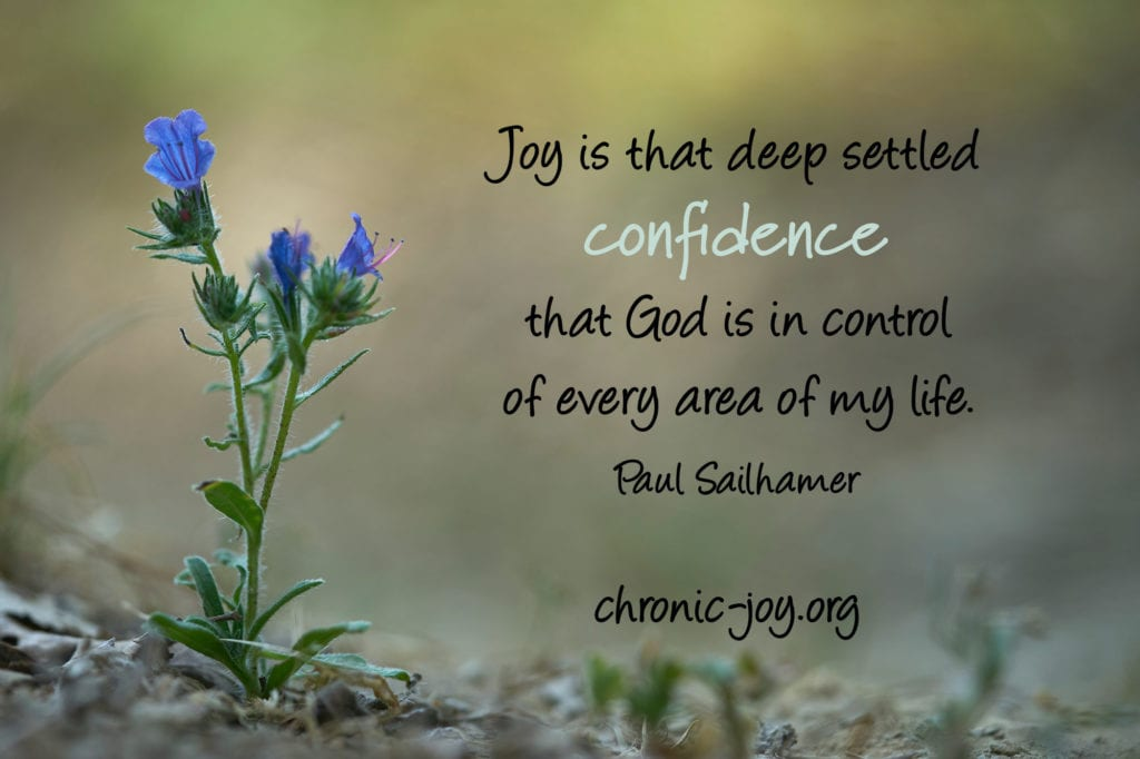 """""""Joy is that deep seated confidence that God is in control of every area of my life."""" Paul Sailhamer"""