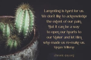"""Lamenting is hard for us. We don't like to acknowledge the extent of our pain. But it can be a way to open our hearts to our Maker and let Him who made us re-make us."" Megan Willome"