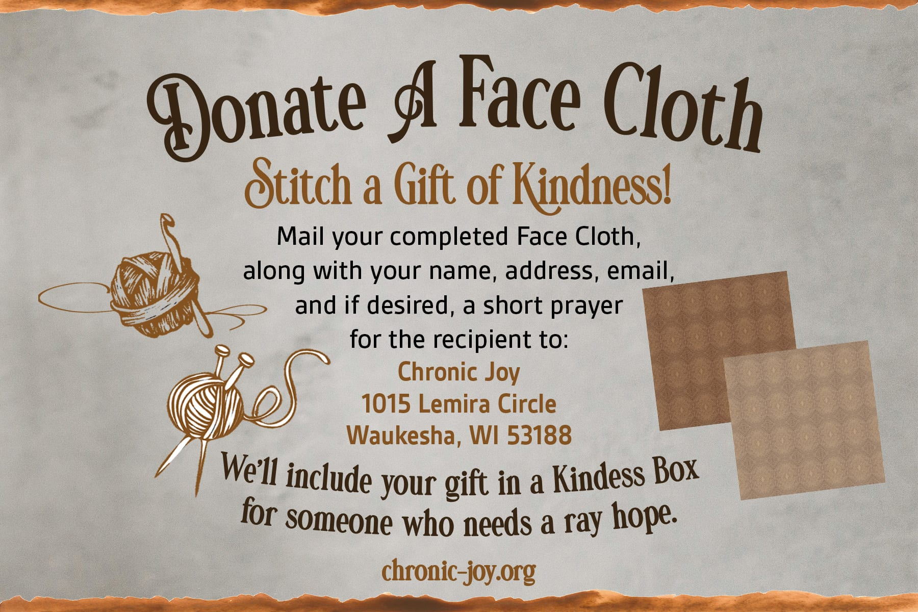 Donate A Face Cloth • Stitch a Gift of Kindness