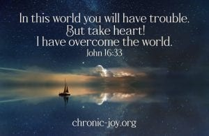 """""""In this world you will have trouble. But take heart! I have overcome the world."""" John 16:33"""