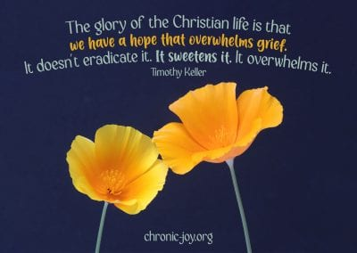 """""""The glory of the Christian life is that we have a hope that overwhelms grief. It doesn't eradicate it. It sweetens it. It overwhelms it."""" Timothy Keller"""