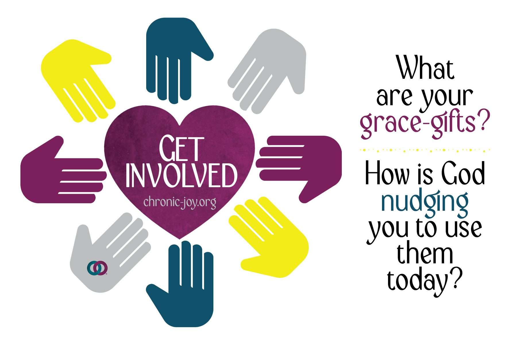 Get Involved • What are your grace-gifts? How is God nudging you to use them today? Get Involved!